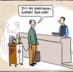 EmporiumSF MEET ME THERE ASAP Please note Emotional support bar carts are also not permitted in the venue. But we do provide emotional support bartenders for your convenience. Funny Cute, Hilarious, Emotional Support Animal, I Love To Laugh, Twisted Humor, Adult Humor, I Laughed, Laughter, Funny Pictures