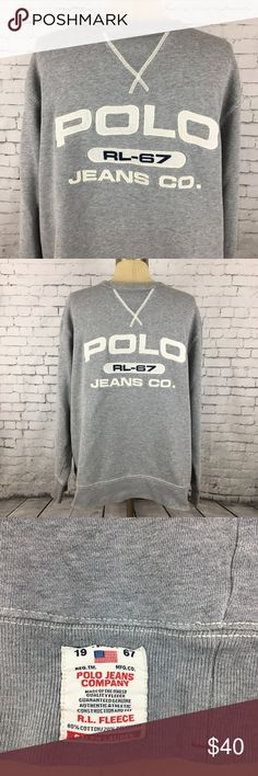 Polo Ralph Lauren sweatshirt Large gray Vintage In preowned great condition. No flaws except for a couple of bleach spots on one sleeve cuff. From a nonsmoking home. Polo by Ralph Lauren Shirts Sweatshirts & Hoodies