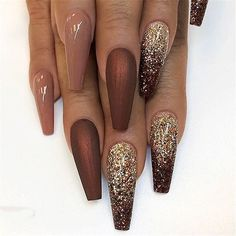 2019 Hot Fashion Coffin Nail Trend Ideas summcoco gives you . - 2019 Hot Fashion Coffin Nail Trend Ideas summcoco gives you inspiration for the - Fall Acrylic Nails, Glitter Nail Art, Sparkle Nails, Acrylic Art, Fall Nail Art Designs, Acrylic Nail Designs, Brown Nail Designs, New Years Nail Designs, New Years Nail Art