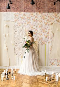 Muted colors wedding dress