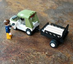 Custom Lego Car Trailer - includes car, trailer and lumber. Sold only on eBay.