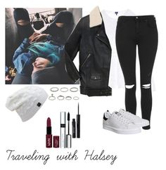 """Traveling with Halsey"" by looking-at-the-clouds ❤ liked on Polyvore featuring Splendid, Topshop, adidas, The Kooples, Forever 21, Stila, By Terry and NYX"
