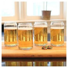 Cathy's Concepts 16 oz. Craft Beer Can Glasses (Set of 4), Clear
