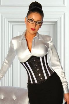 Black Pencil Skirt White Satin Blouse and Black and White Corset