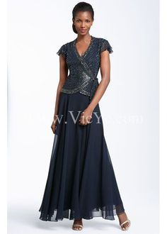 Elegant Beaded Two Piece Chiffon Mother of the Bride Dress in Full Length, Summer Mother of The Bride Dresses - Vicyc.com