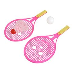 Como 3 in 1 Pink Plastic Shaft Badminton Rackets White Table Tennis Badminton Set by Como. $3.79. This sport equipment set contains 1 pair badminton rackets, 1 pc badminton, 1 pc pingpong. The badminton racket features in pink frame and shaft, nonslip handle, which is comfortable for you to play badminton sport with your friend. Lightweight plastic badminton ensures good performance. It is ideal gift for you. Badminton Sport, Badminton Racket, Pink Plastic, Rackets, Sports Equipment, Tennis, Outdoors, Handle, Frame