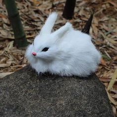 Cute  Furry Rabbit Plush Doll Artificial Animal  Mini pocket toy Simulation