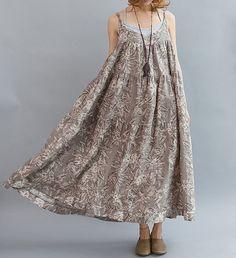 Women Summer slip dress/ Linen Large Pendulum Long dress di MaLieb