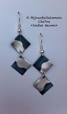 Une jolie paire de boucles doreilles petit carré en capsules Nespresso avec des crochets en argent 925. Possibilité de choisir la couleur