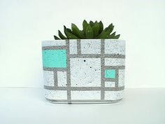 X-Large Square Concrete Succulent Planter - Geo Mint by Urban Decor Mix Concrete, White Concrete, Concrete Planters, Planter Pots, Urban Decor, Industrial House, Accent Colors, Wooden Toys, Color Mixing