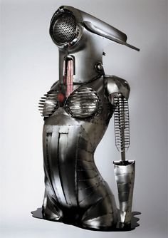 The metal sculpture of artist Greg Brotherton Metal Sculpture Artists, Steel Sculpture, Wire Sculptures, Tim Burton, Miller Welding Helmet, Steampunk, Arte Robot, Welding Art, Welding Projects
