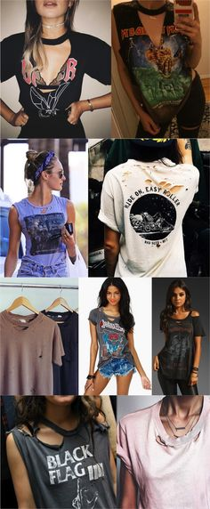 T shirt diy, diy cut shirts, t shirt hacks, cutting t shirts, rock style . Look Rock Chic, Style Rock, My Style, Diy Fashion, Ideias Fashion, Womens Fashion, Fashion Tips, Fashion Trends, Fashion Ideas