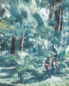 Jacques Majorelle - Trois femmes Africaines dans une végétation luxuriante