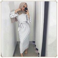 Plus size Muslim Adult sriped fashion Robe Musulmane Turkish Dubai Abaya Muslim Robe Arab Worship Service abaya wholesale - Muslim Shops - High Quality Islamic Clothing Hijab Outfit, Hijab Dress, Gown With Hijab, Dresses For Hijab, Long Skirt Hijab, Dress Skirt, Wrap Dress, Modest Wear, Modest Dresses