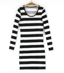 $8.55 Stylish Scoop Neck Striped Design Flocking Long Sleeves Bodycon Knit Dress For Women