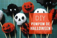 Pompoms de Halloween! Confira o tutorial no youtube! http://www.youtube.com/watch?v=gifbaIDO2G4 #pompom #halloween #diy