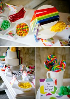 colorful candy and dessert table #rainbowwedding #weddingchicks http://www.weddingchicks.com/2013/12/26/a-rainbow-wedding/