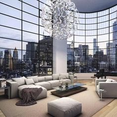 This Soho Contemporary Living Area Has A Breathtaking View! Loving The Fact  That The Only Thing Separating You From The City Is Big Panels Of Glass!