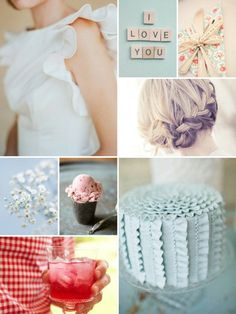 Pale blue with watermelon and white