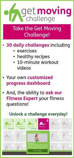 A great addition to our One Healthy Change a Month Challenge: Get 30 days of #fitness and #nutrition! Join the Get Moving Challenge! @My Well-Being Powered by Humana