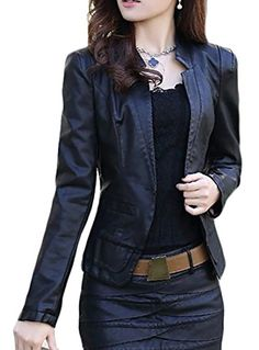 8eea4eb9e2224 Macondoo Women s Classic Washed Office Faux Leather Slim Coat Jacket Black  XS Faux Leather Pencil Skirt