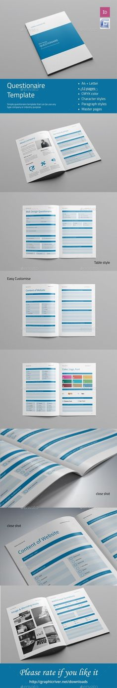 Questionnaire Web Design Print templates, Template and Printing - feedback form word template