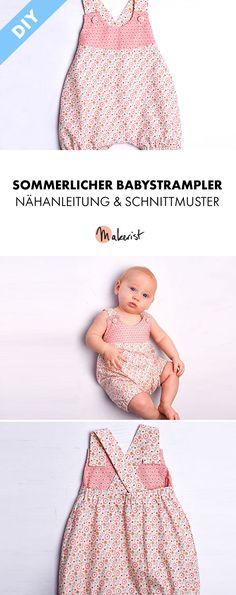 Sommerlicher Babystrampler - Nähanleitung und Schnittmuster via Makerist.de  #nähenmitmakerist #nähen #nähenmachtglücklich #nähenfürbabys #strampler #kinderkleidung #baby #kinder #selbstgemacht #selbstgenäht