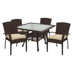 Monterey Wicker 5 Piece Square Patio Dining Furniture Set