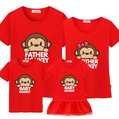 "Family matching clothes 100%cotton casual T-shirts matching mother and daughter clothes mother daughter dress""Cute monkey"" #Affiliate"