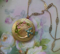 Bluebird Adorned Vintage Locket Pink Blue by LadyBirdLockets, $17.00