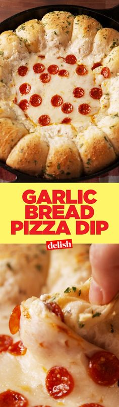 This Garlic Bread Pizza Dip has a genius hack that will change the way you party forever. Get the recipe on http://Delish.com.