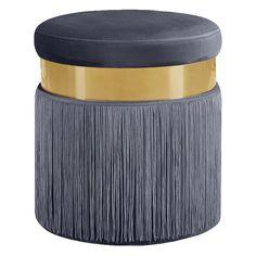 Lowest price on Meridian Yasmine Grey Velvet Ottoman Stool Shop today! Pouf Ottoman, Grey Ottoman, Ottoman Bench, Tufted Bench, Velvet Stool, Meridian Furniture, Low Stool, Modern Dining Chairs, Modern Fabric