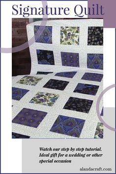 Learn how to make this easy Signature Quilt. Ideal gift for weddings and other special occasions. Guests can write their well wishes in the sashing. Our step by step tutorial shows you how. Quilting For Beginners, Quilting Tutorials, Quilting Projects, Sewing Tutorials, Diy Sewing Projects, Sewing Projects For Beginners, Sewing Ideas, Sewing Patterns, Jellyroll Quilts