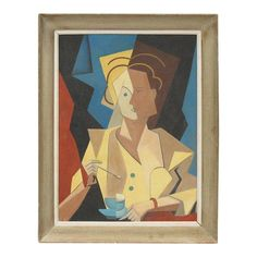 Cubism French Cubist Gouache on Cardboard Painting, Woman With Cup of Coffee For Sale - Image 3 of 8 Cubist Portraits, Abstract Portrait, Portrait Paintings, Art Paintings, Picasso And Braque, Tears Art, Cardboard Painting, Georges Braque, French Artists