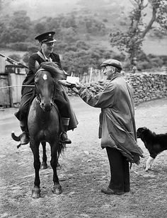 'postman on his round in the mountains between Tregaron and Abergwesyn', National Library of Wales and The European Library, CC BY-NC-SA