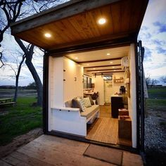"""""""Anchor"""" Tiny Container Home by CargoHome in Texas Tiny House Movement // Tiny Living // Tiny House Living Room // Tiny Home Outdoor Living // Tiny Container House, Building A Container Home, Cargo Container, Cargo Home, Shipping Container Homes, Shipping Containers, Tiny House Movement, Tiny House Living, Living Room"""