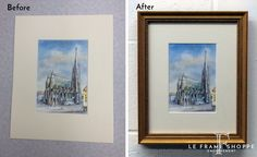A sure way to make a souvenir feel special is to get it custom framed. This watercolour has a handcrafted frame using moulding from #LarsonJuhl Custom Frames Hudson collection. #beforeandafter #customframing #souvenirs #leframeshoppe