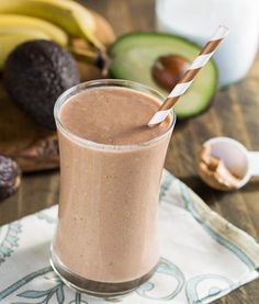 Ingredients: -1 scoop of chocolate protein powder or 1 cup of chocolate Greek yogurt -½ banana -¼ avocado -1 tbsp almond butter -1 ½ cups of almond milk  -½ cup water -3-4 ice cubes -Combine all ingredients in blender -Blend until smooth.