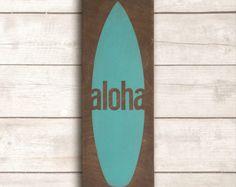 Surfboard Wood Sign; Beach Wall Decor; Beach Wall Art; Hawaiian Wood Sign