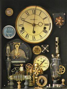 Clock in Glass Box - Klockwerks by Roger Wood