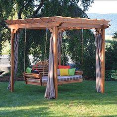 A&L Furniture Co. Cedar Pergola Arbor Swing Bed Set