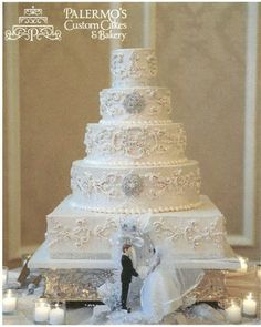 Simple white Vintage style wedding cake
