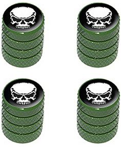 "(4 Count) Cool and Custom ""Diamond Etching Angry White Skull Top with Easy Grip Texture"" Tire Wheel Rim Air Valve Stem Dust Cap Seal Made of Genuine Anodized Aluminum Metal {Army Dodge Green and Black Colors - Hard Metal Internal Threads for Easy Application - Rust Proof - Fits For Most Cars, Trucks, SUV, RV, ATV, UTV, Motorcycle, Bicycles} mySimple Products http://www.amazon.com/dp/B00ZYU20X6/ref=cm_sw_r_pi_dp_5YEEwb0VYFRQY"