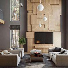 Love Love Love this Stunning timber feature wall. Image via Pinterest.  #interiordesign #interiors #inspiration #timber #livingroom #luxuryhome #customhomebuilder #building #pinterest #austurbanhomes