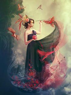 Fantasy Digital Art by Vasylina Holodilina - ♥ Digital Artworks - Kunst Fantasy Kunst, 3d Fantasy, Fantasy Women, Fantasy Artwork, Digital Art Fantasy, Street Photography, Art Photography, Fantasy Portraits, Photo Manipulation