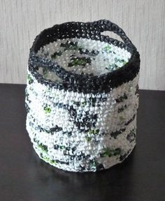 ... My works on Pinterest Plastic bags, Crochet baskets and Crochet box