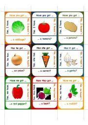 English worksheet: Vegetable Go Fish