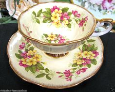 ROSINA TEA CUP AND SAUCER WILD FLOWER PATTERN TEACUP