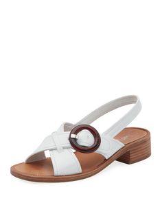 1af7bd79a563 Leather Buckle Flat Sandals Flat Sandals