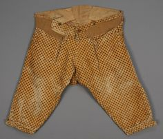 Breeches, 3-piece formal coat, France, 1750-1775. Gold silk velvet cut to ivory stripe with polychrome printed floral repeat, silk lining